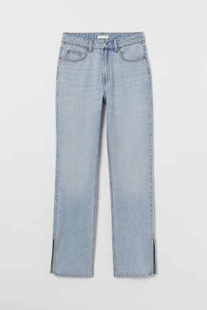 Straight High Split Jeans