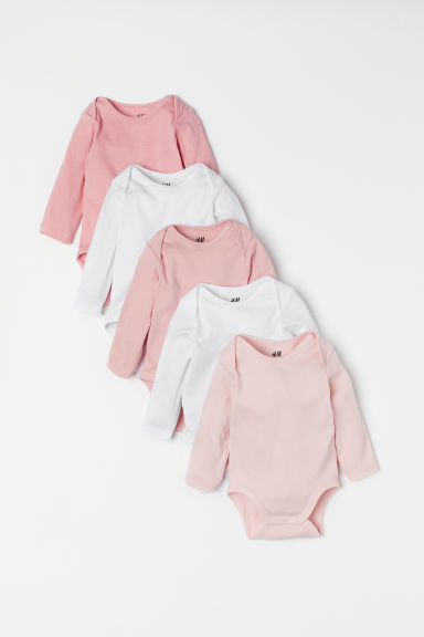 Bodies, lot de 5 - Rose/blanc - ENFANT | H&M BE