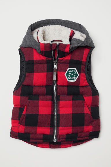 Padded gilet - Red/Checked - Kids | H&M