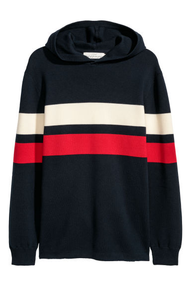 Fine-knit hooded jumper - Dark blue/Multicoloured - Men | H&M CN