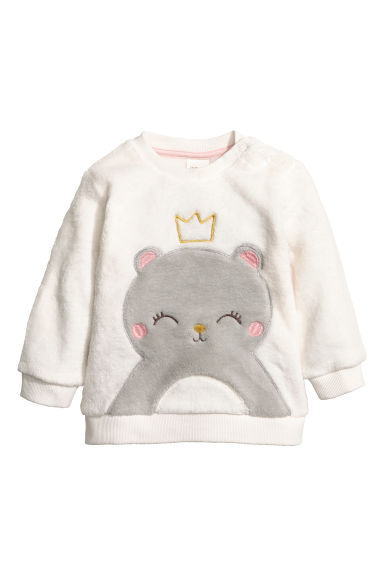 Sweat-shirt en peluche - Blanc/nounours - ENFANT | H&M BE