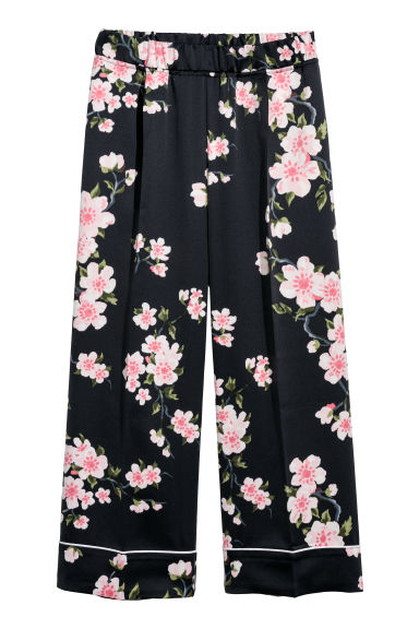 Patterned culottes - Black/Floral - Ladies | H&M CN