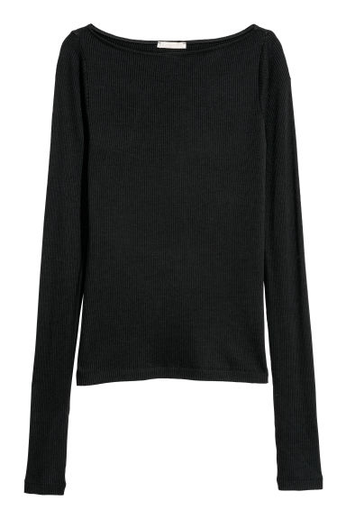 Ribbed top - Black - Ladies | H&M