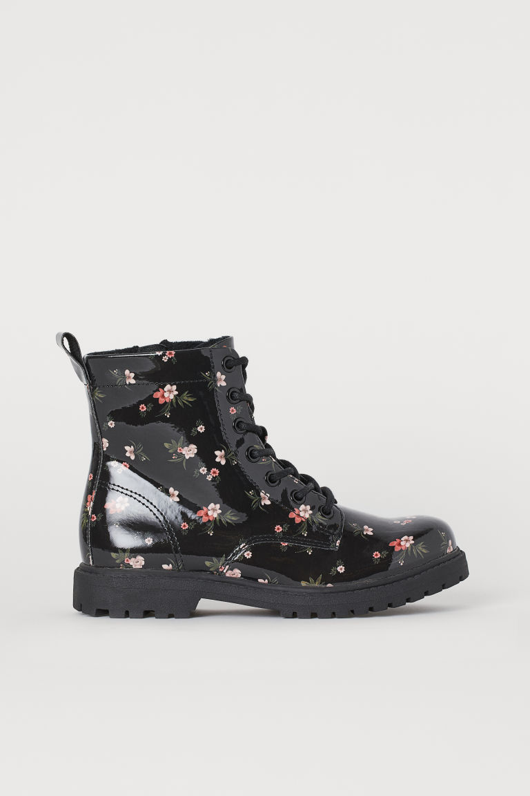 Warm-lined boots - Black/Floral - Kids | H&M IE