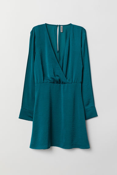 Robe à encolure en V - Pétrole -  | H&M BE