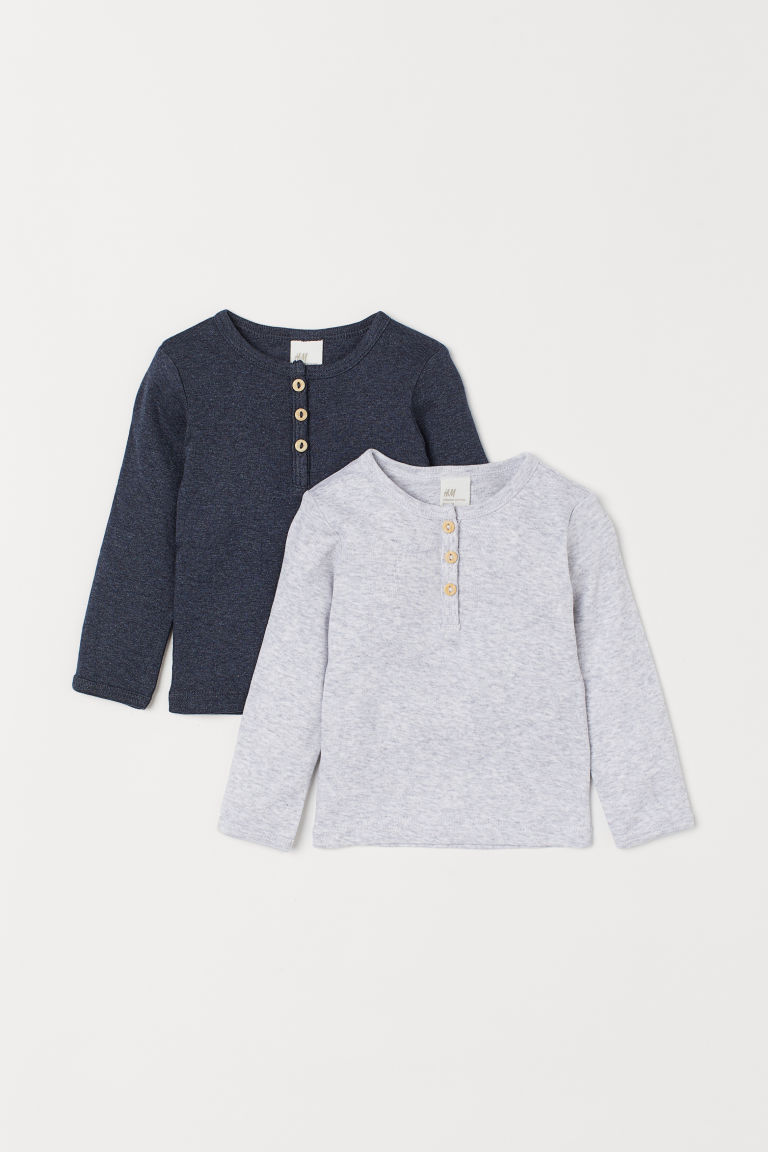 2-pack Henley Tops - Dark blue melange - Kids | H&M CA