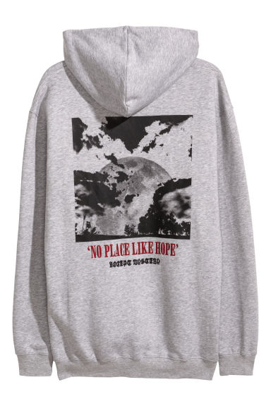 Hooded top with a print motif - Grey marl/No place -  | H&M IE