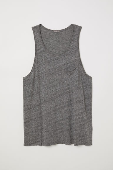 Slub jersey vest top - Grey marl - Men | H&M