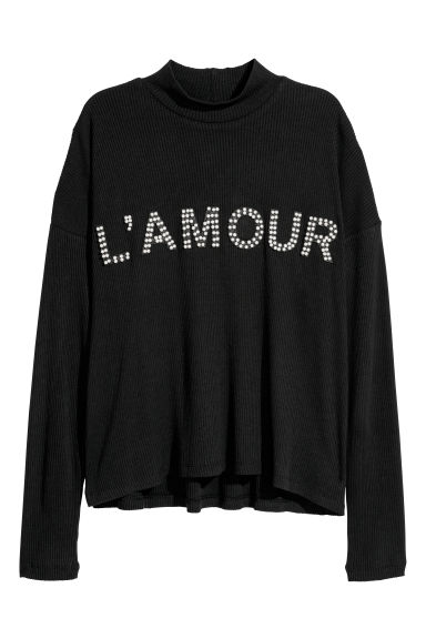 Top with text appliqués - Black/L'amour -  | H&M CN