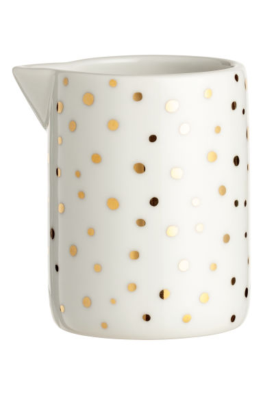 Pot à lait en porcelaine - Blanc/doré/pois - Home All | H&M CA
