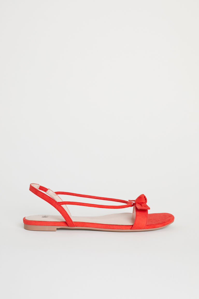 Sandals with a bow - Red - Ladies | H&M