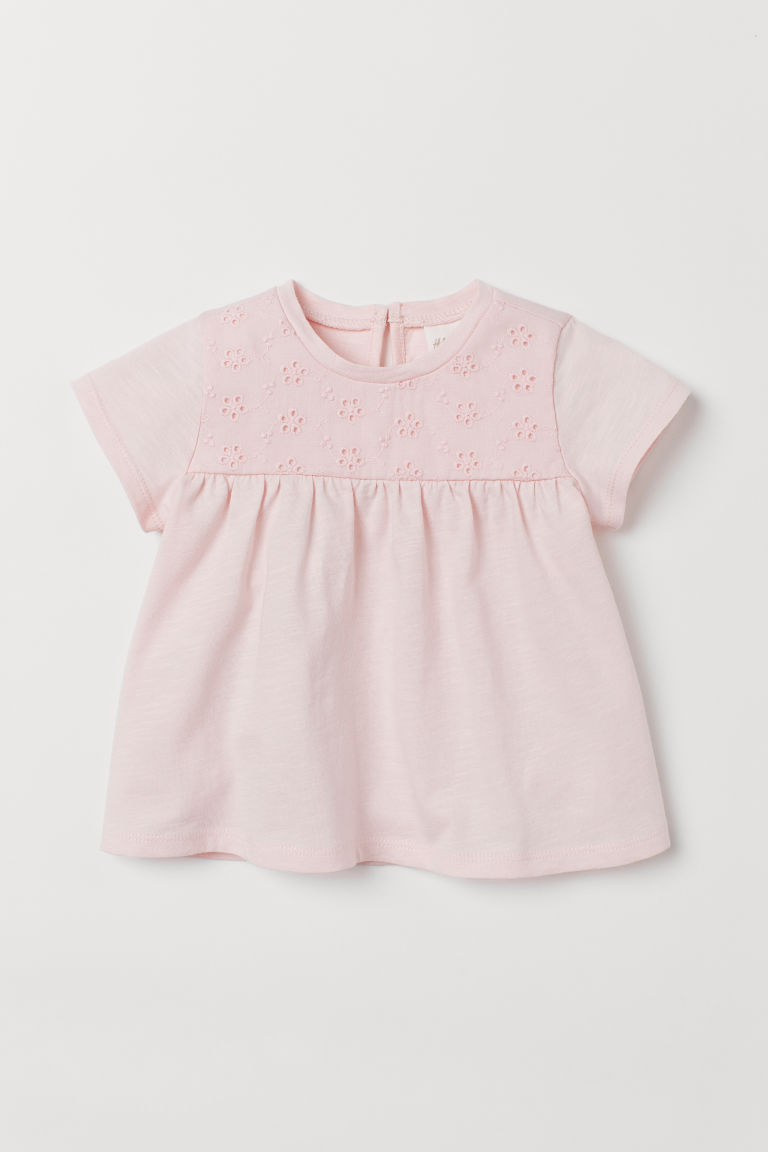 Top with embroidery - Light pink - Kids | H&M