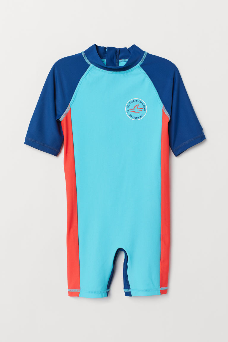 Swimsuit with UPF 50 - Turquoise/Block-coloured - Kids | H&M