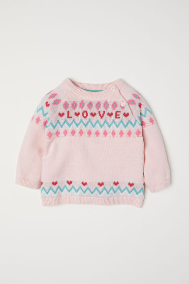 Jacquard-knit jumper - Light pink/Love - Kids | H&M
