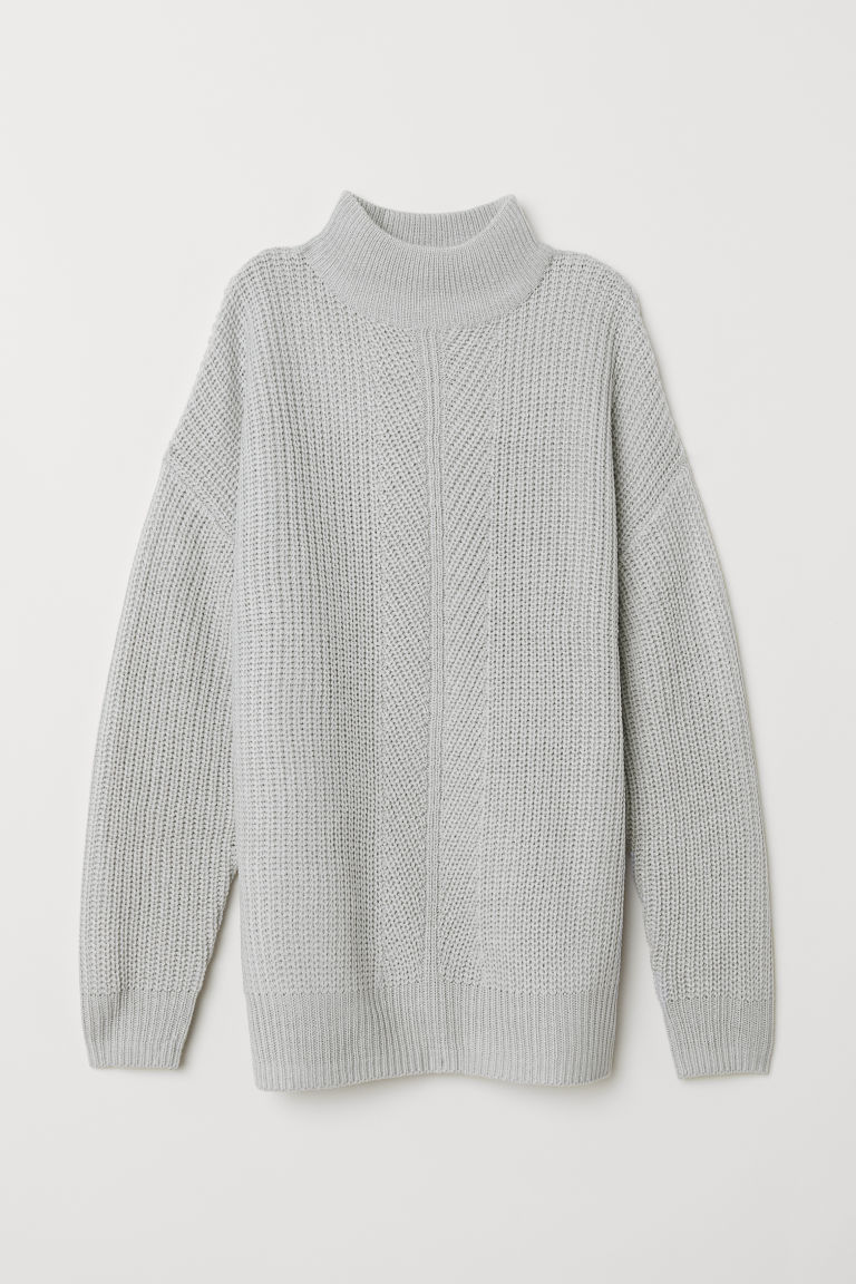 Knitted turtleneck jumper - Light grey marl -  | H&M CN