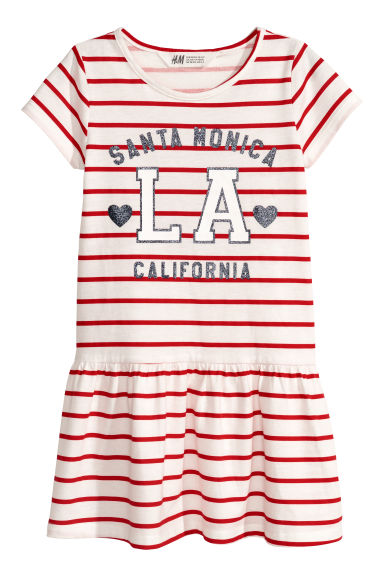Short-sleeved jersey dress - White/Red striped -  | H&M CN