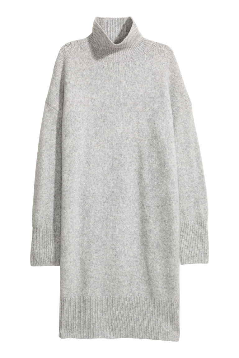 Knitted wool-blend dress - Light grey - Ladies | H&M IE