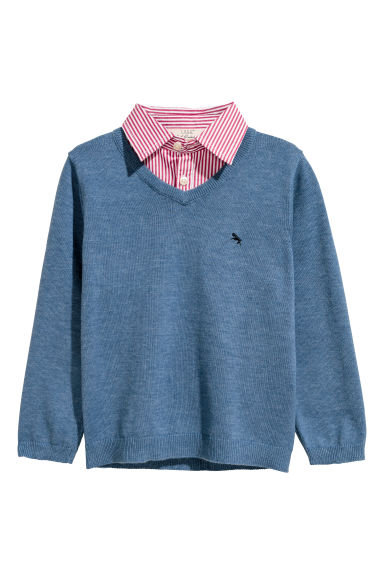 Jumper with a shirt collar - Blue marl - Kids | H&M CN