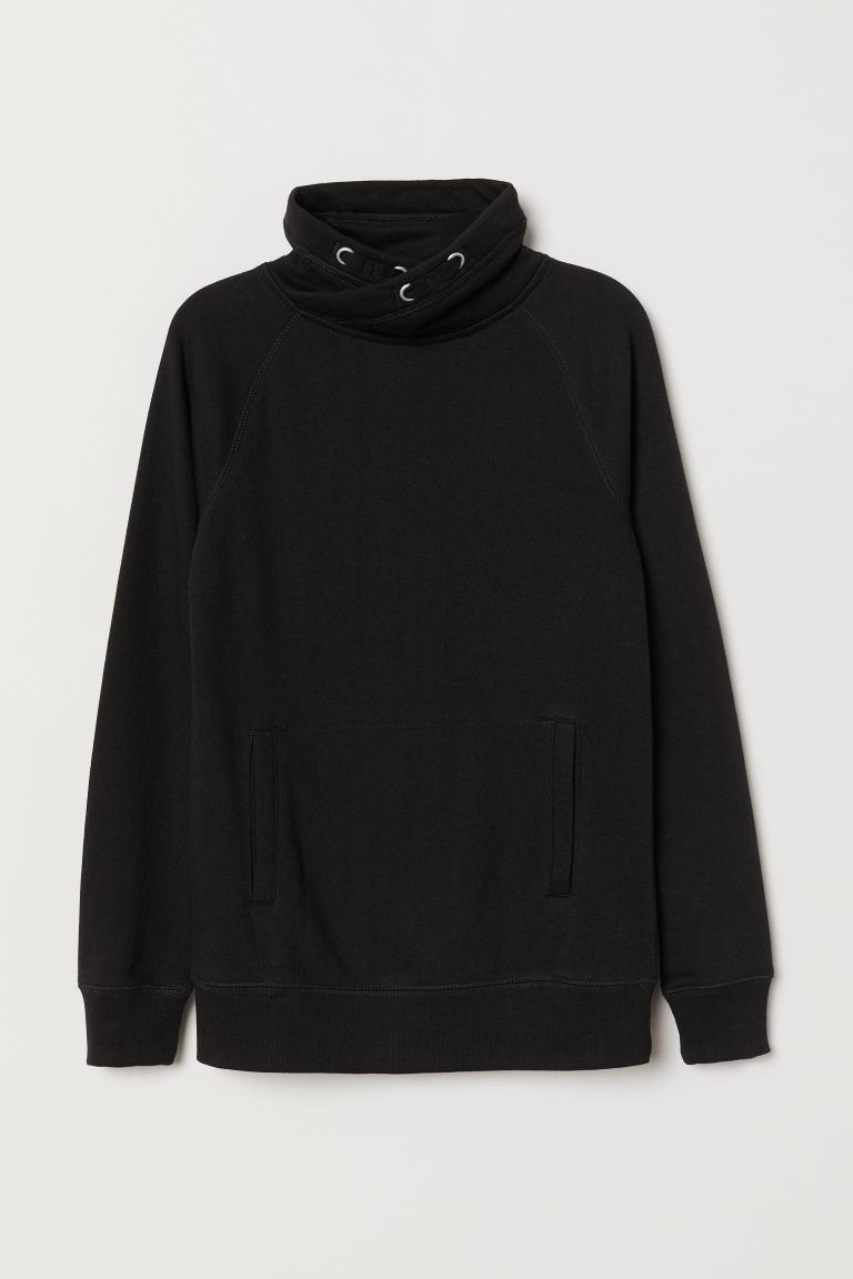 Funnel-collar sweatshirt - Black - Kids | H&M