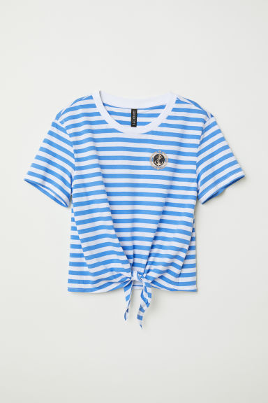 T-shirt with a tie - Blue/White striped - Ladies | H&M