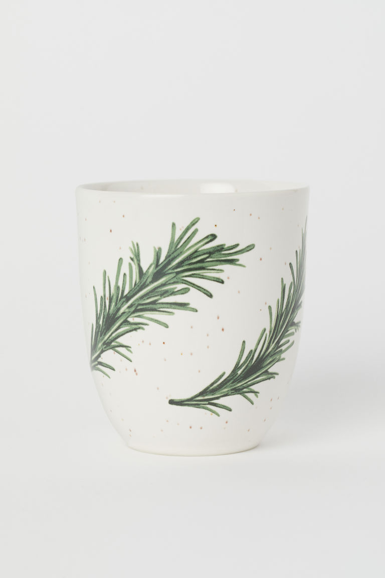 Mugg i porslin - Vit/Rosmarinkvistar - Home All | H&M SE