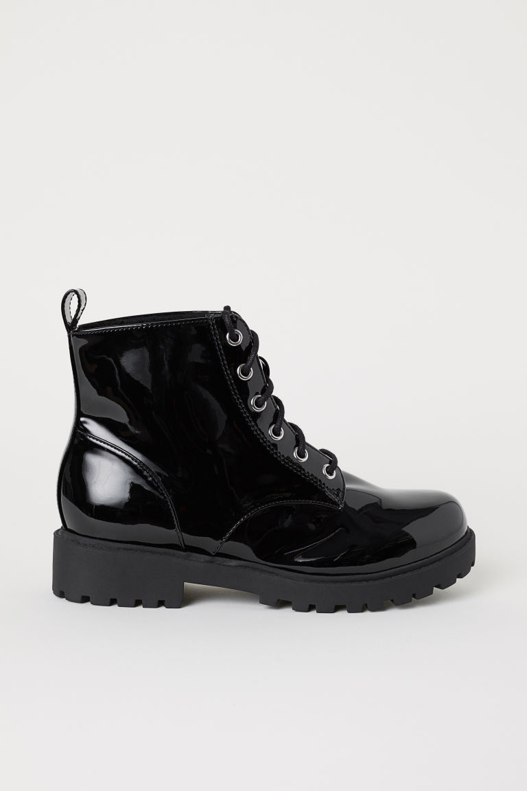 Pile-lined boots - Black/Patent - Ladies | H&M CN
