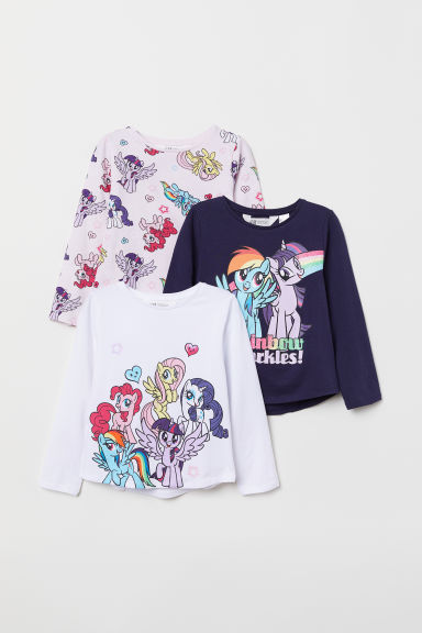 Maglie a maniche lunghe, 3 pz - Blu scuro/My Little Pony - BAMBINO | H&M IT