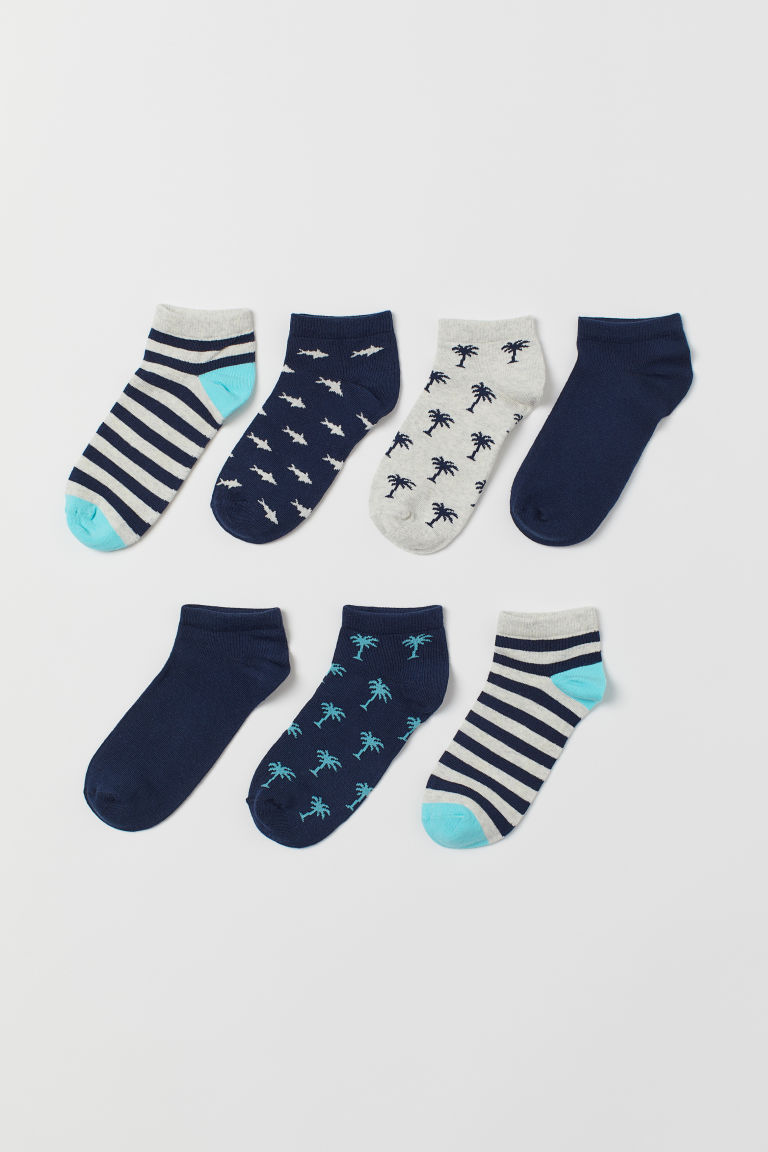 7-pack trainer socks - Light grey marl/Palm trees - Kids | H&M
