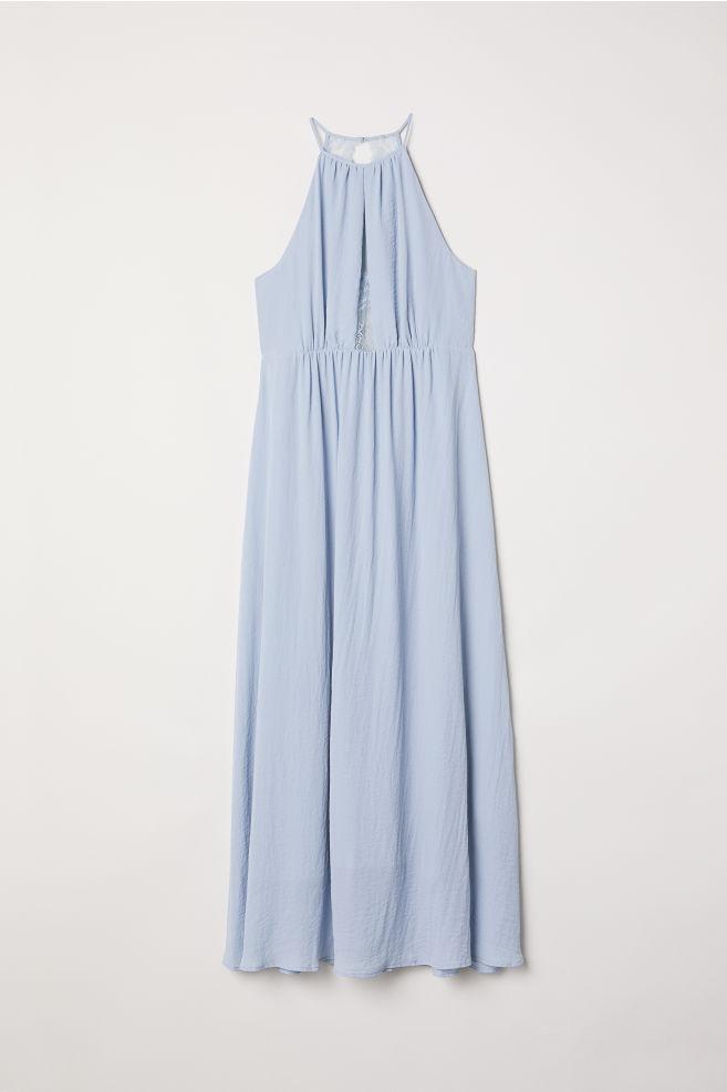 d9b93422cbaf H&M+ Long Dress with Lace - Light blue - Ladies | H&M ...