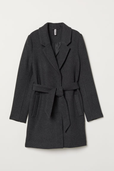 Coat with a tie belt - Dark grey marl -  | H&M CN
