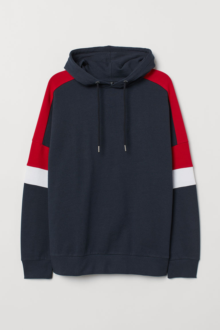 Cotton hooded top - Dark blue/Block-coloured -  | H&M