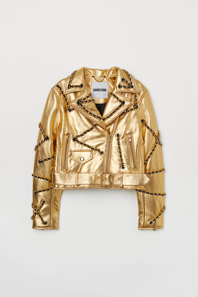 Leather biker jacket - Gold-coloured - Ladies | H&M GB