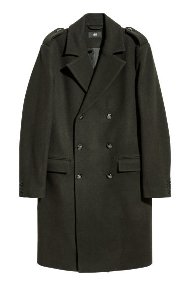 Wool-blend coat - Dark green -  | H&M