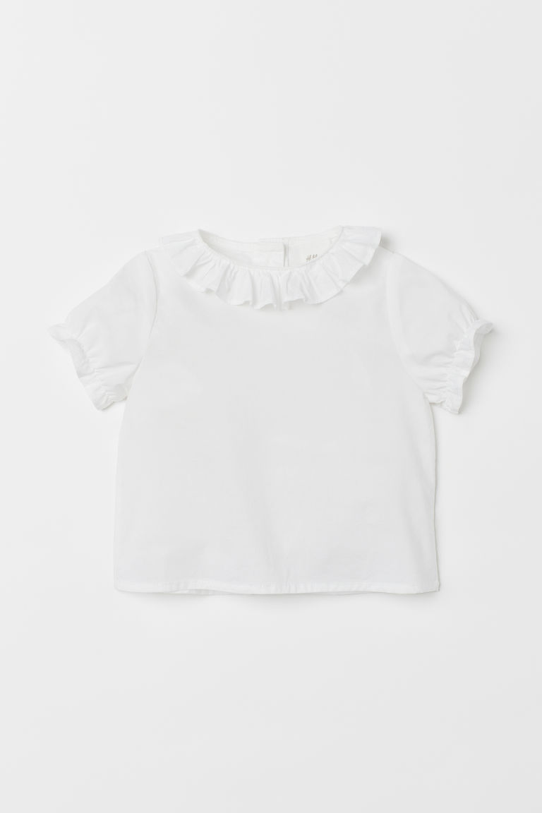 Frill-trimmed cotton blouse - White - Kids | H&M