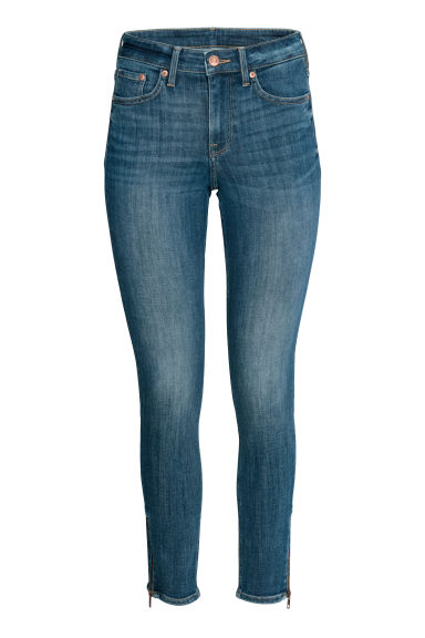 Skinny Regular Zip Jeans - Dark blue - Ladies | H&M GB