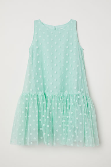 Flared mesh dress - Mint green - Kids | H&M CN