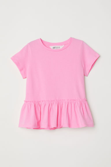 Short-sleeved flounced top - Pink -  | H&M