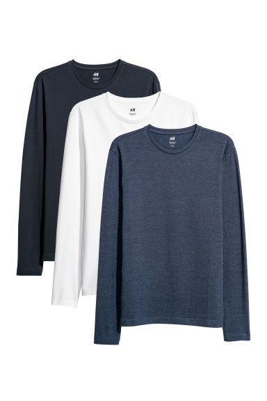 3-pack tops Slim fit - Dark blue/Multicoloured - Men | H&M
