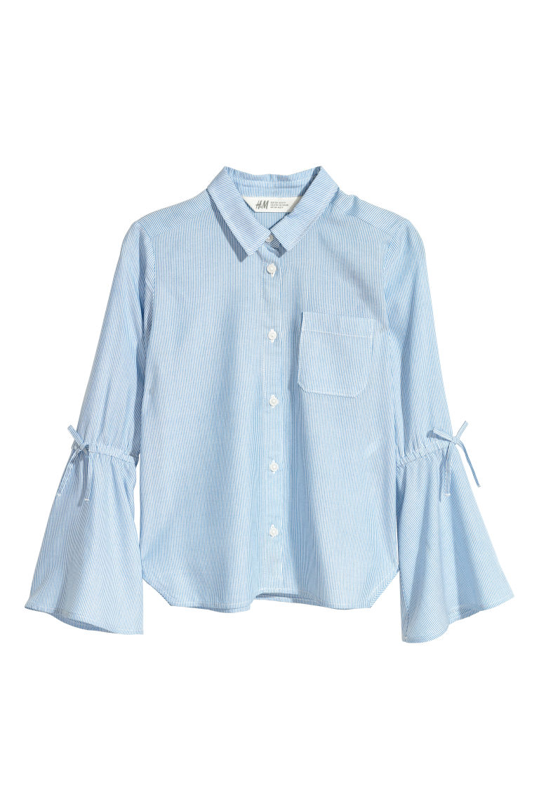 Viscose blouse - Light blue/White striped - Kids | H&M