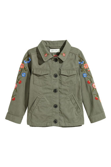 Embroidered utility jacket - Khaki green/Flowers - Kids | H&M