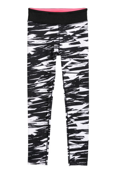 Sports tights - Black/White patterned - Kids | H&M CN