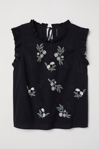 Embroidered cotton blouse - Black/Floral - Ladies | H&M CN