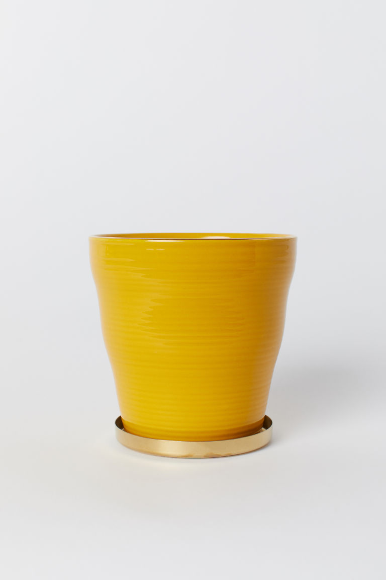 Portavaso con piattino - Yellow - HOME | H&M IT