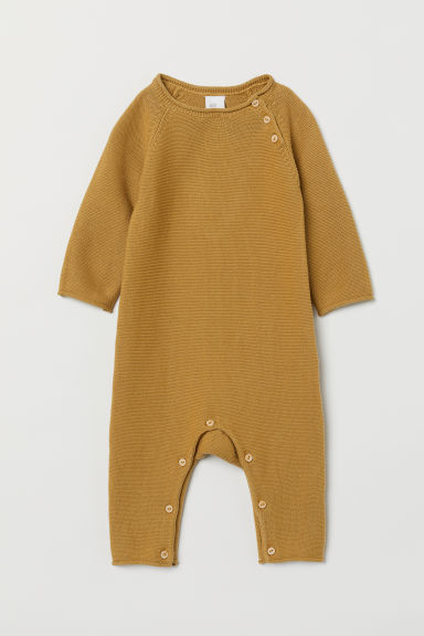 Fine-knit all-in-one suit - Mustard yellow -  | H&M