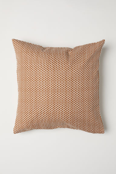 Cotton canvas cushion cover - Brown/White patterned - Home All | H&M CN