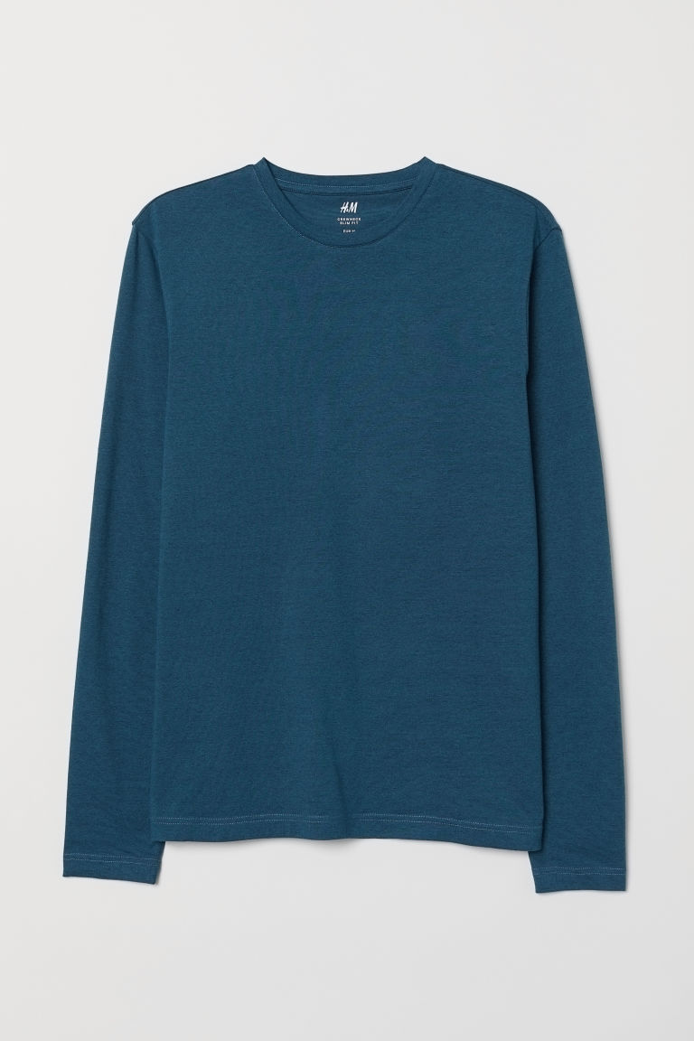 Long-sleeved jersey top - Dark turquoise - Men | H&M