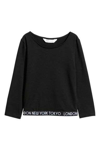 Jersey top with elastication - Black/London New York Tokyo - Kids | H&M