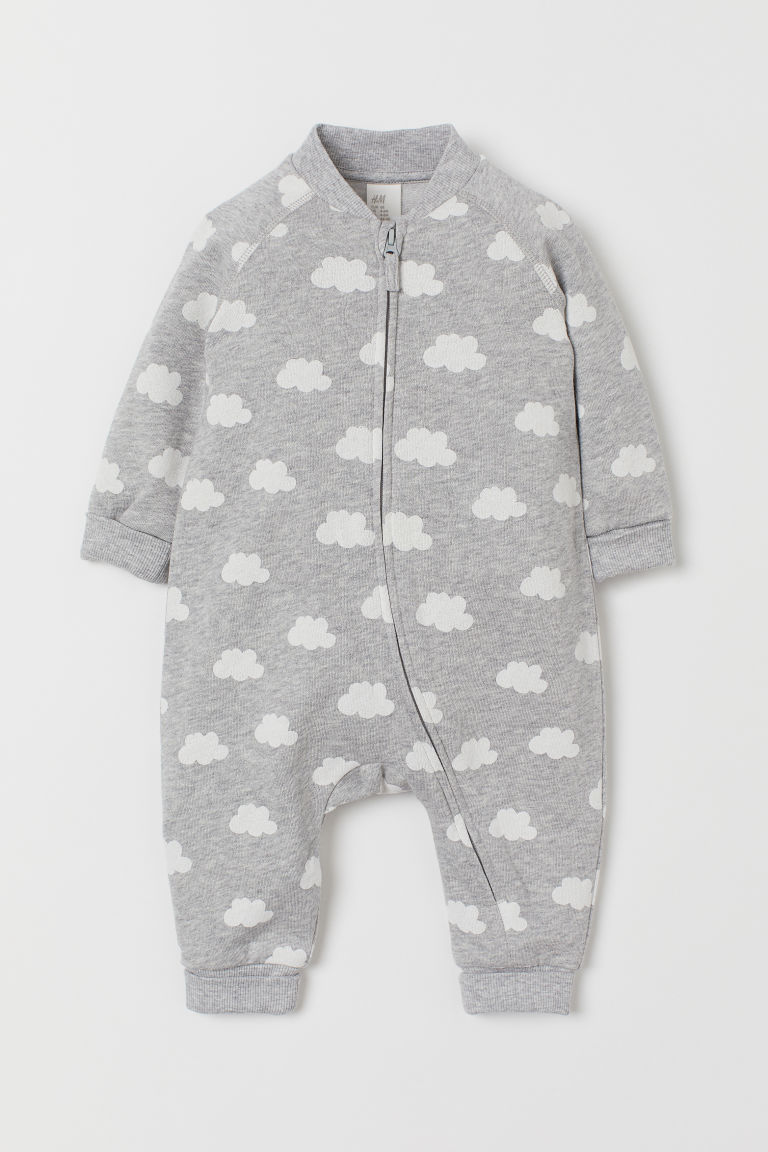 Sweatshirt all-in-one suit - Light grey marl/Clouds - Kids | H&M