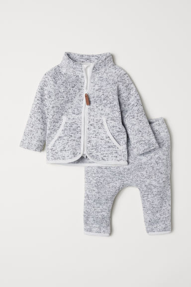 Fleece jacket and trousers - Light grey marl - Kids | H&M CN