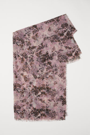 Airy scarf - Dusky pink/Floral -  | H&M